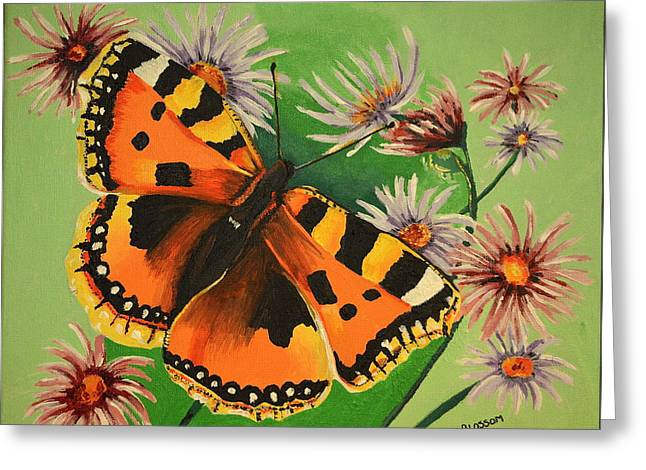 Butterfly With Asters Greeting Card by Donna Blossom