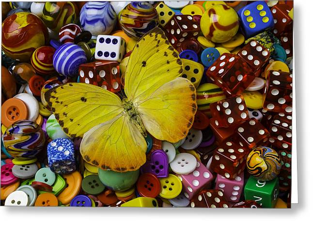 Butterfly With Marbles And Dice Greeting Card by Garry Gay