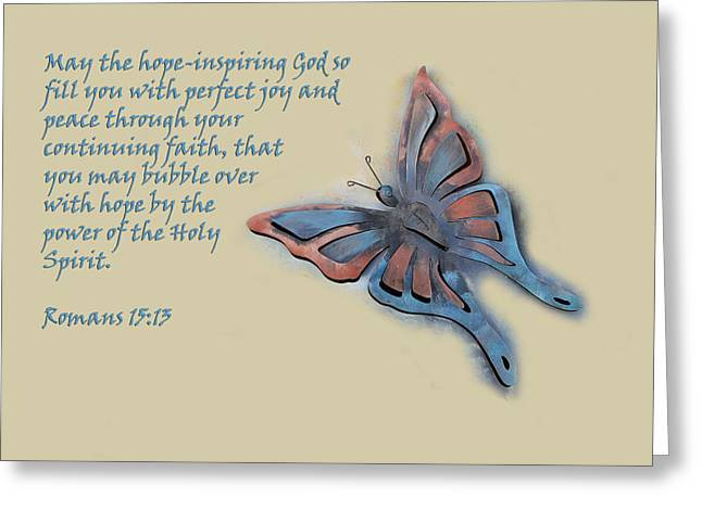 Bible Digital Greeting Cards - Butterfly with Scripture Greeting Card by Linda Phelps