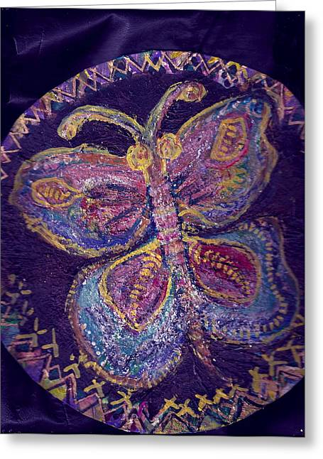 Butterfly With Stitches On Wings Greeting Card by Anne-Elizabeth Whiteway