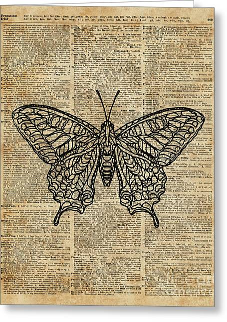 Butterfly Zentagle Vinatge Dictionary Art Greeting Card by Joanna Kuch