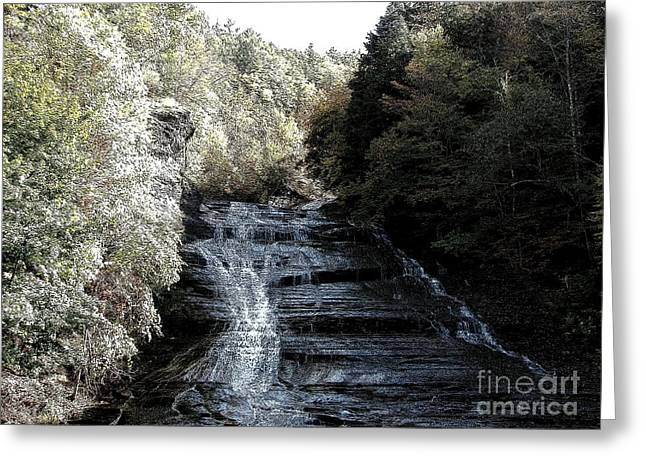 Buttermilk Falls Ithaca New York Ink Sketch Effect Greeting Card by Rose Santuci-Sofranko