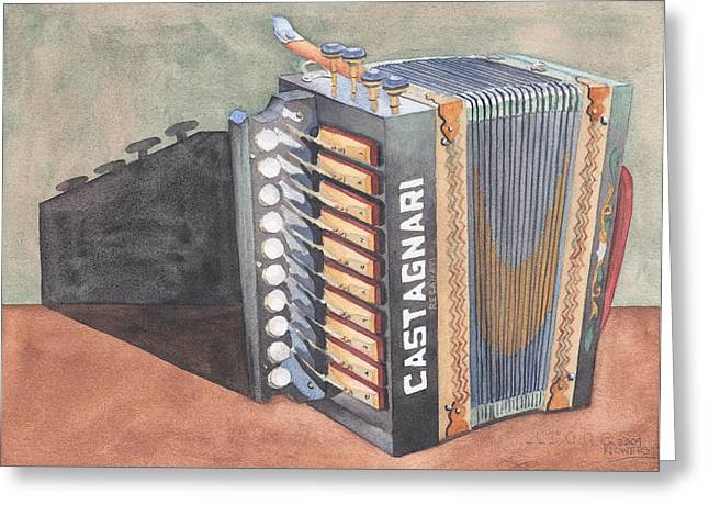 Watercolour Greeting Cards - Button Accordion Two Greeting Card by Ken Powers