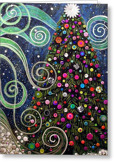 Button Tree 0012-holiday Greeting Card by Monica Furlow