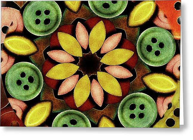 Buttons Abstract Greeting Card by Bonnie Bruno