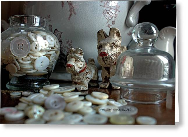 Buttons And Dogs Greeting Card by Laura Birr Brown