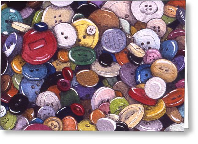 Buttons Greeting Card by Victoria Heryet