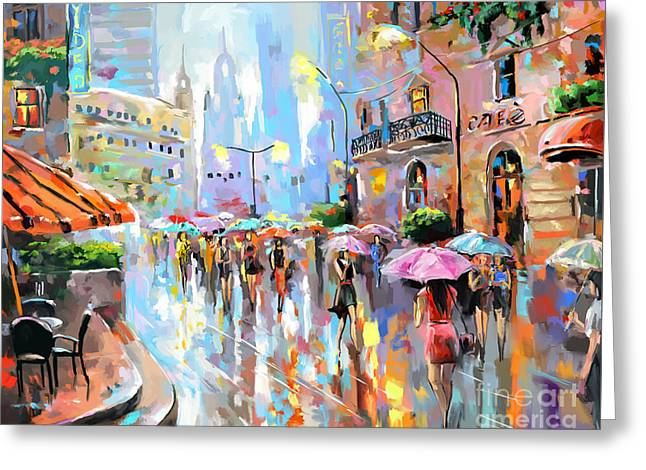Buzy City Streets Greeting Card