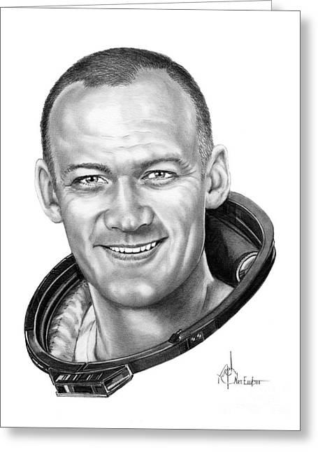 Buzz Aldrin Greeting Card by Murphy Elliott