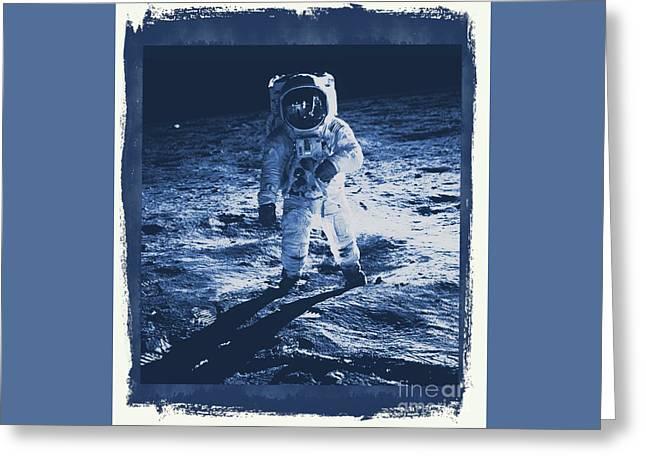 Buzz Aldrin On The Moon, Apollo 11, Nasa Greeting Card by Raphael Terra
