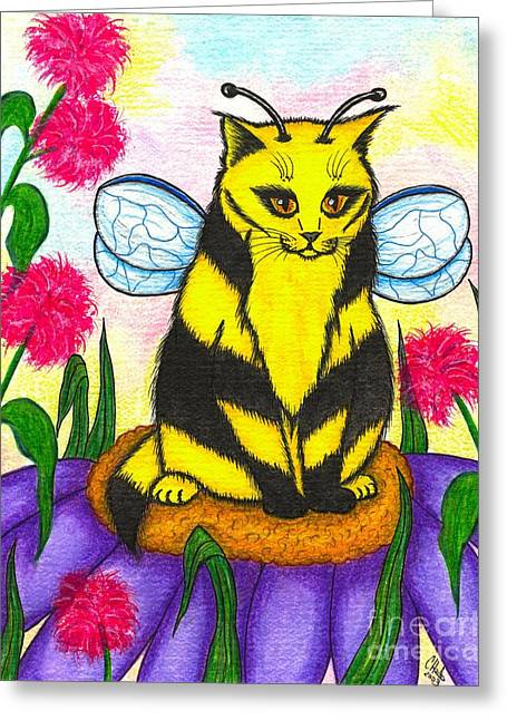 Buzz Bumble Bee Fairy Cat Greeting Card by Carrie Hawks