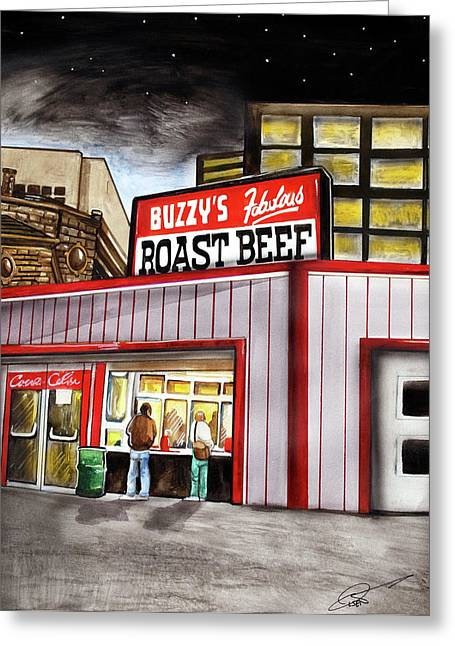 Buzzy's Fabulous Roast Beef Greeting Card by Dave Olsen