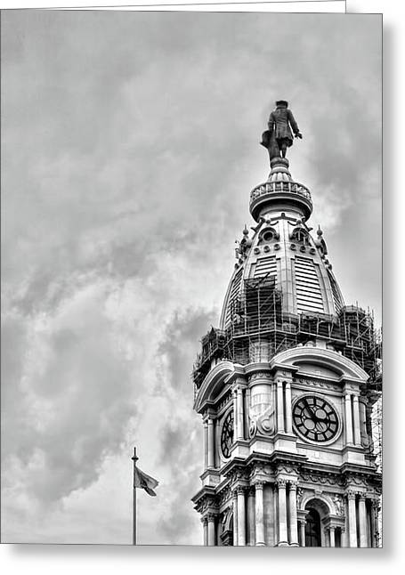Bw Ben Franklin City Hall Greeting Card by Chuck Kuhn