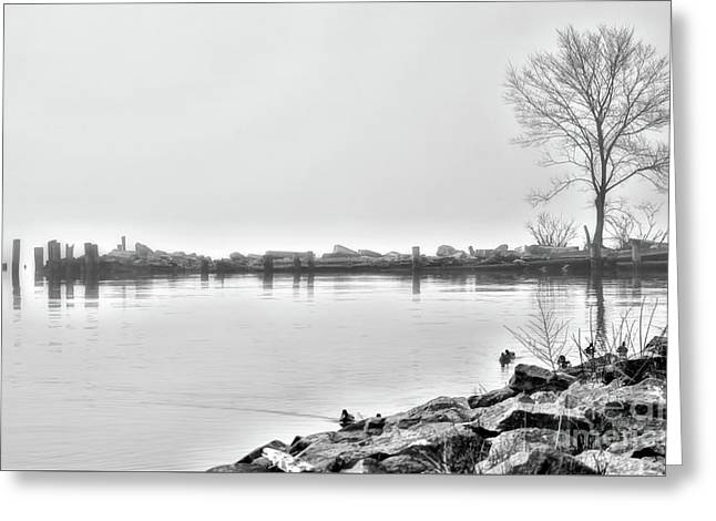 Bw Peaceful  Greeting Card by Chuck Kuhn