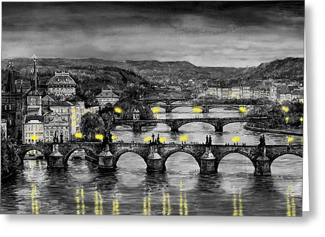 Bw Prague Bridges Greeting Card by Yuriy  Shevchuk