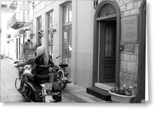 Bw Girl Riding On Motorcycle With Handsome Bike Rider Speed Stone Paved Street Nafplion Greece Greeting Card