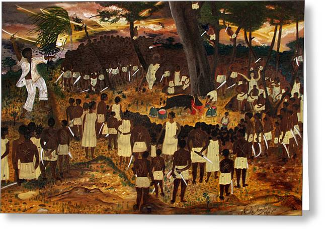 Bwa Kayiman Haiti 1791 Greeting Card by Nicole Jean-Louis