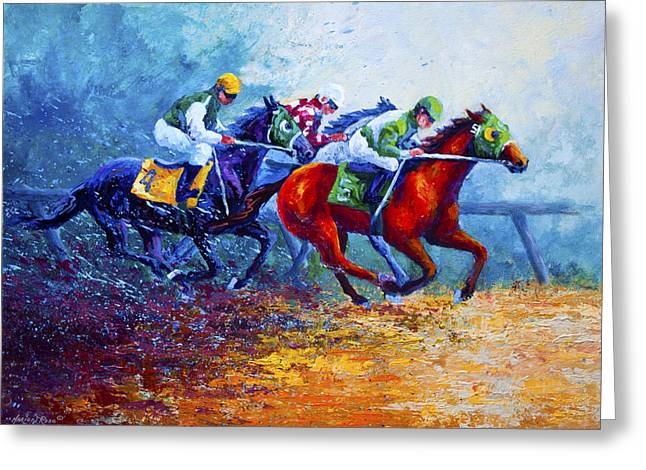 Jockey Greeting Cards - By A Neck Greeting Card by Marion Rose
