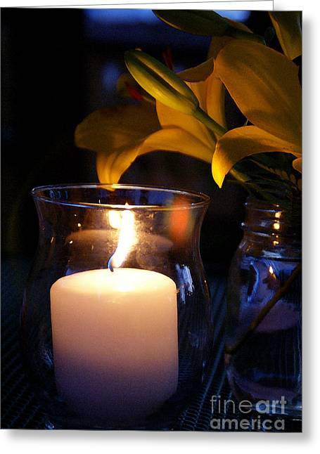 Candle Lit Greeting Cards - By Candlelight Greeting Card by Linda Knorr Shafer