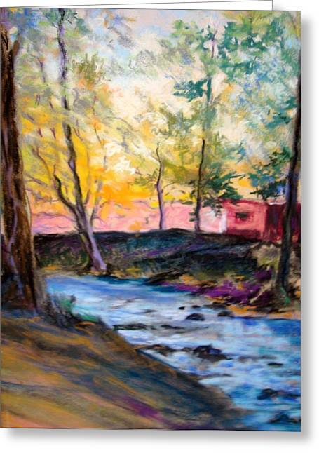 Greeting Card featuring the painting By Clear Blue Waters by AnnE Dentler