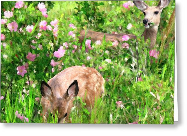 By Mother's Side - Impressionist Doe And Fawn Digital Painting Greeting Card by Rayanda Arts