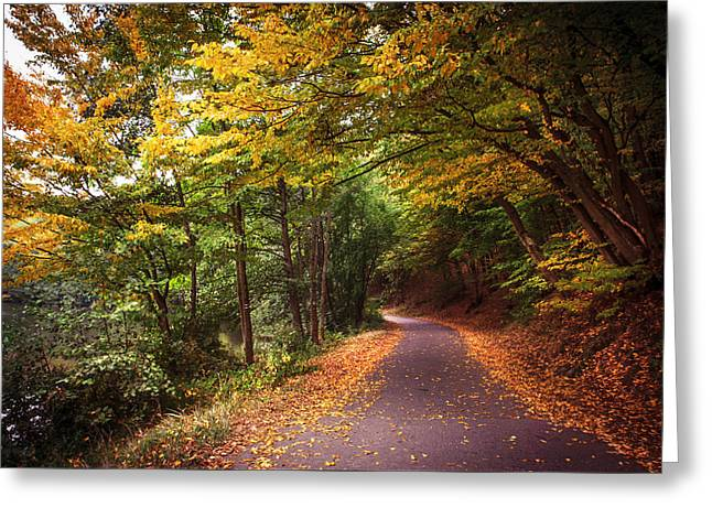 By The Autumn Path Greeting Card by Jenny Rainbow