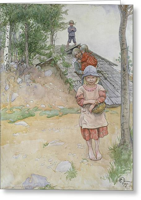 By The Cellar Greeting Card by Carl Larsson