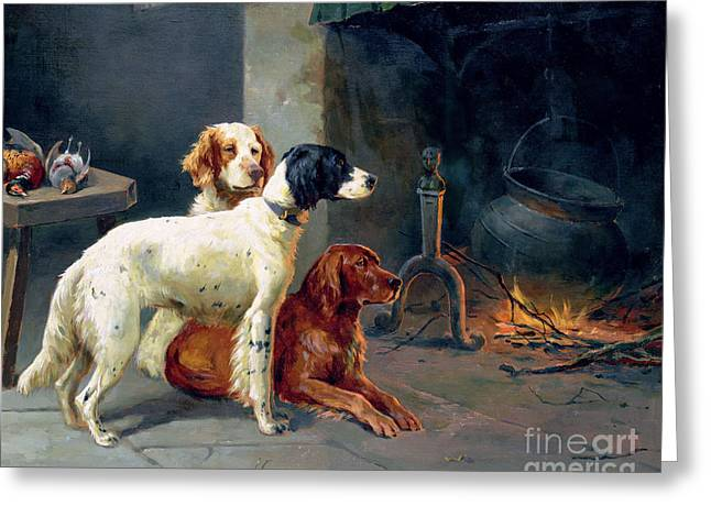 By The Fire Greeting Card by Alfred Duke