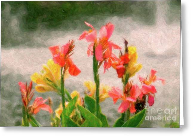 Fountain Digital Art Greeting Cards - By the Fountain Greeting Card by Betty LaRue