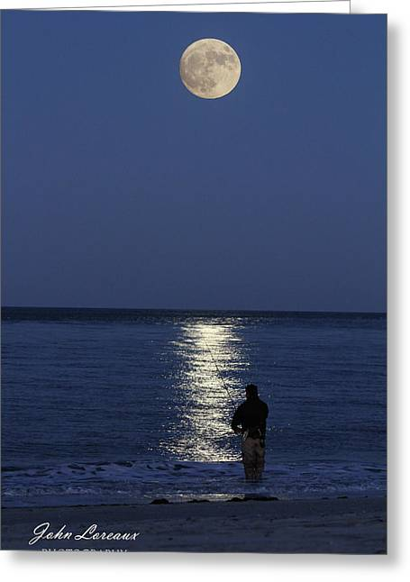 By The Light Of The Supermoon Greeting Card by John Loreaux