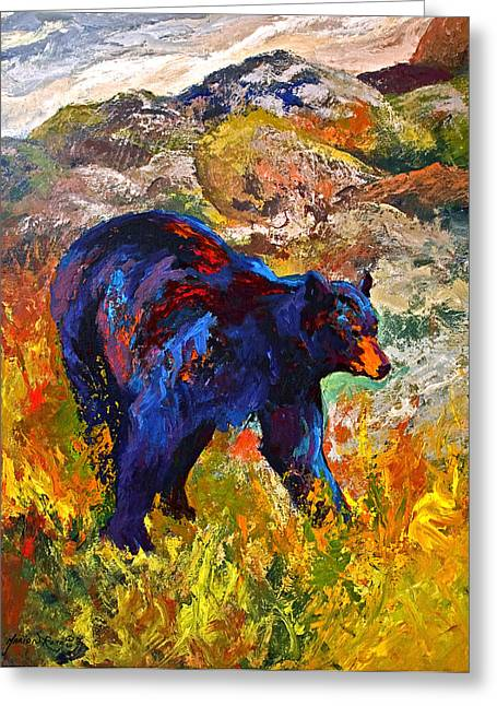 Western Greeting Cards - By The River - Black Bear Greeting Card by Marion Rose