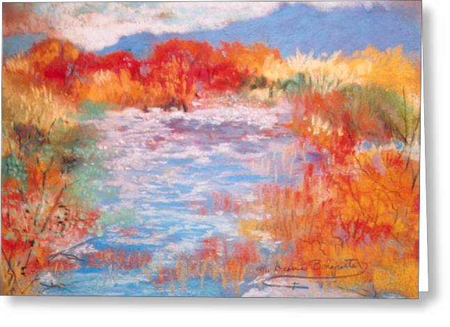 Greeting Card featuring the painting By The River by M Diane Bonaparte