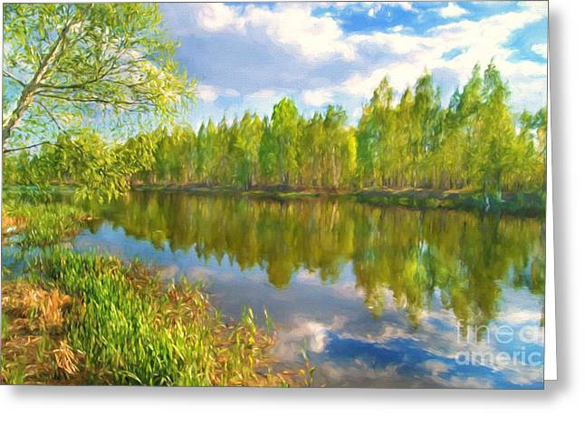 By The River Greeting Card by Veikko Suikkanen