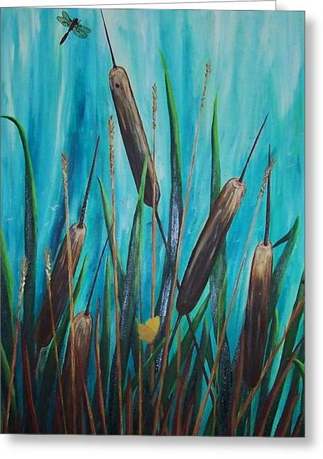By The Shore Cat -tail Greeting Card by Yvonne Kinney