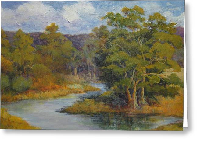 By The Winding Stream Greeting Card by Barbara Moore