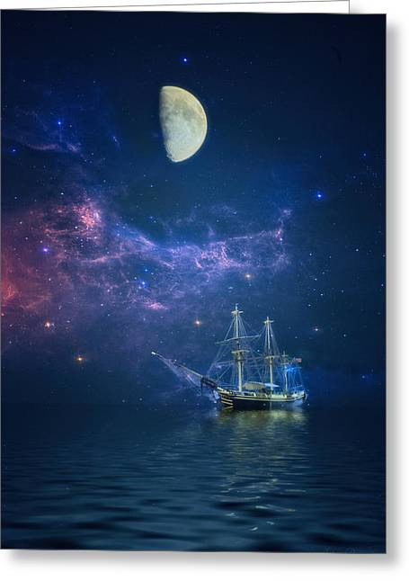 By Way Of The Moon And Stars Greeting Card