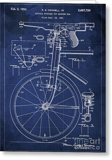 Bycicle Attached Toy Machine Gun Patent Blueprint, Year 1951 Blue Vintage Art Greeting Card by Pablo Franchi