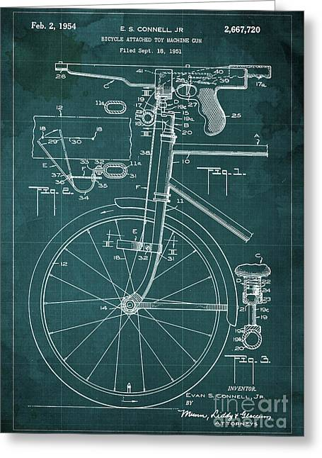 Bycicle Attached Toy Machine Gun Patent Blueprint, Year 1951 Green Vintage Art Greeting Card by Pablo Franchi