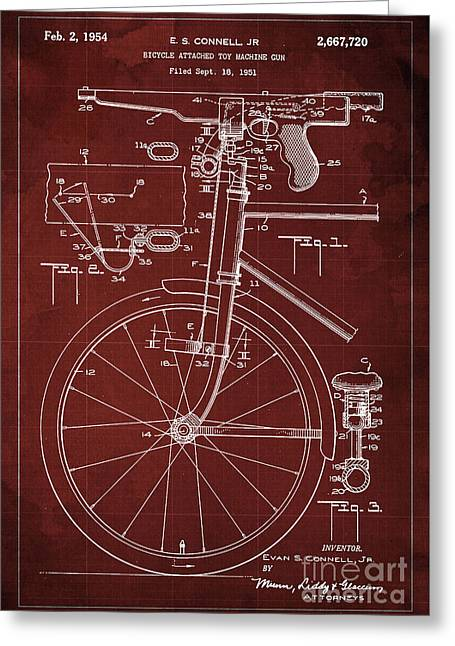 Bycicle Attached Toy Machine Gun Patent Blueprint, Year 1951 Red Vintage Art Greeting Card by Pablo Franchi