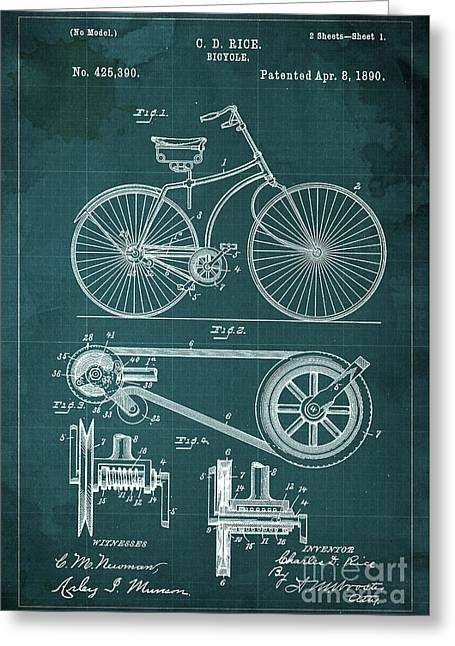 Bycicle Patent Blueprint Year 1890 Green Vintage Background Greeting Card