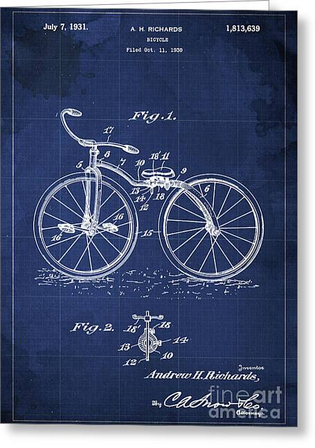 Bycicle Patent Blueprint Year 1930 Blue Vintage Poster Greeting Card by Pablo Franchi
