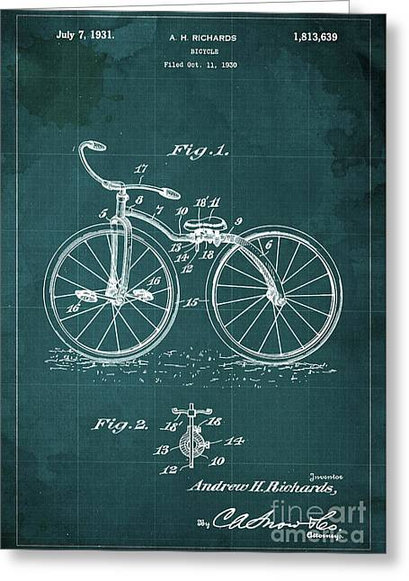 Bycicle Patent Blueprint Year 1930 Green Vintage Poster Greeting Card