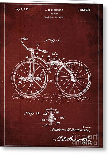 Bycicle Patent Blueprint Year 1930 Red Vintage Poster Greeting Card by Pablo Franchi
