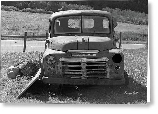 Old Trucks Greeting Cards - Bygone Dodge in black and white Greeting Card by Suzanne Gaff