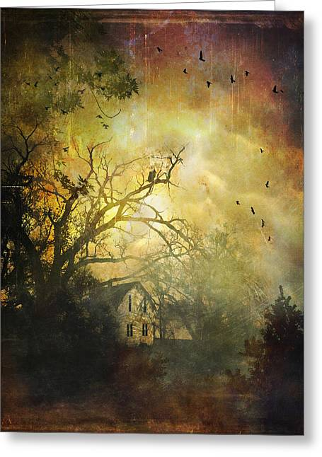 Bygone House On The Hill Greeting Card