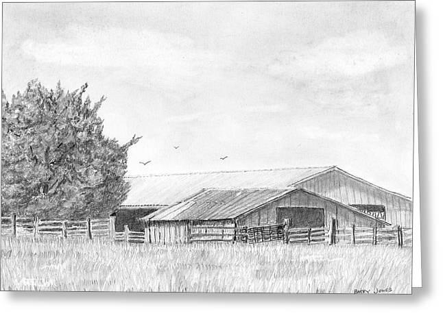 Byhalia Road Farm - Drawing Greeting Card by Barry Jones