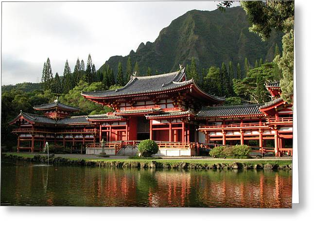 Greeting Card featuring the photograph Byodo-in Temple, Oahu, Hawaii by Mark Czerniec