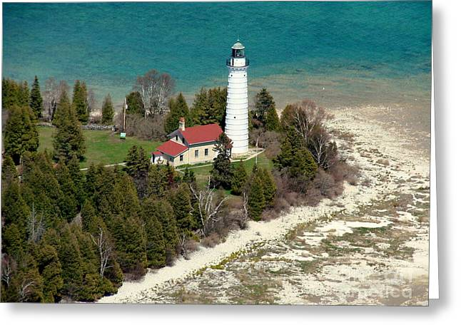 C-018 Cana Island Lighthouse Greeting Card by Bill Lang