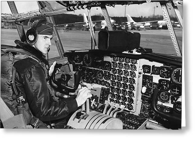 C-130 Cockpit Greeting Card by Underwood Archives