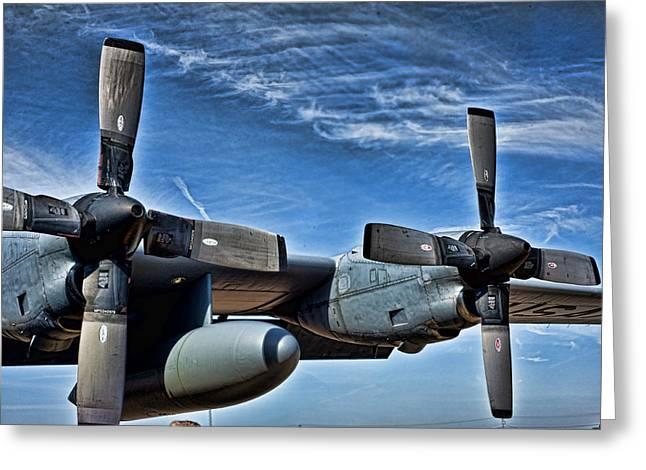 C-130 Hdr Greeting Card by Sheri Bartoszek